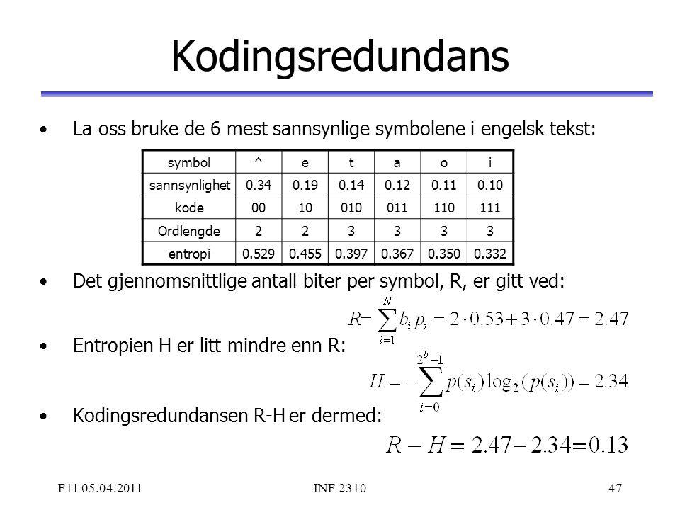 F11 05.04.2011INF 231047 Kodingsredundans La oss bruke de 6 mest sannsynlige symbolene i engelsk tekst: Det gjennomsnittlige antall biter per symbol,