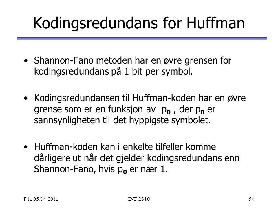 F11 05.04.2011INF 231050 Kodingsredundans for Huffman Shannon-Fano metoden har en øvre grensen for kodingsredundans på 1 bit per symbol. Kodingsredund