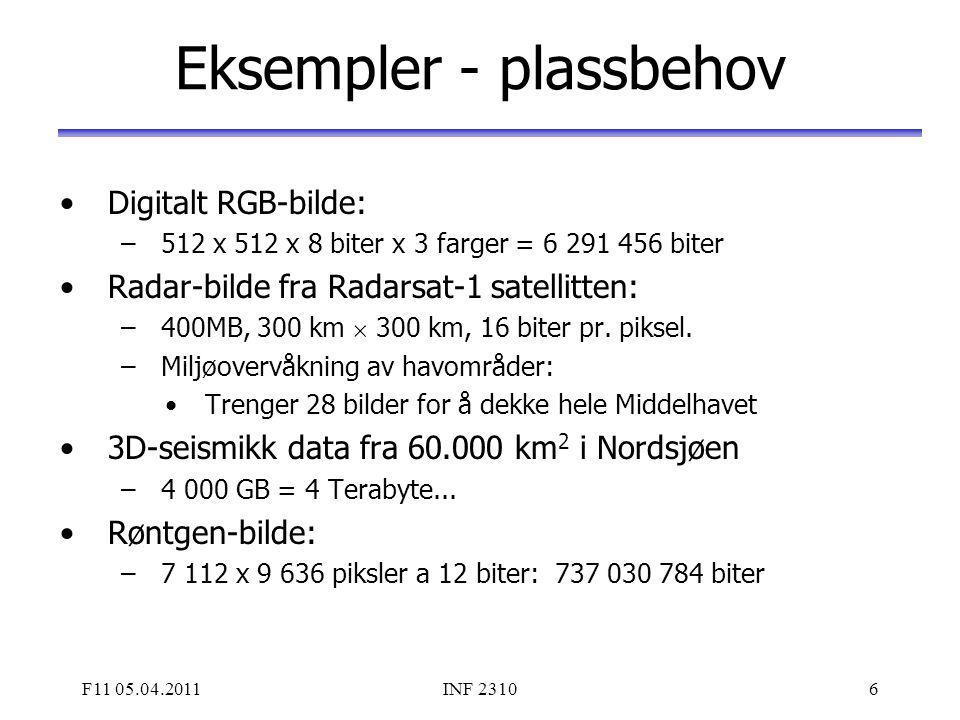 F11 05.04.2011INF 23106 Eksempler - plassbehov Digitalt RGB-bilde: –512 x 512 x 8 biter x 3 farger = 6 291 456 biter Radar-bilde fra Radarsat-1 satell