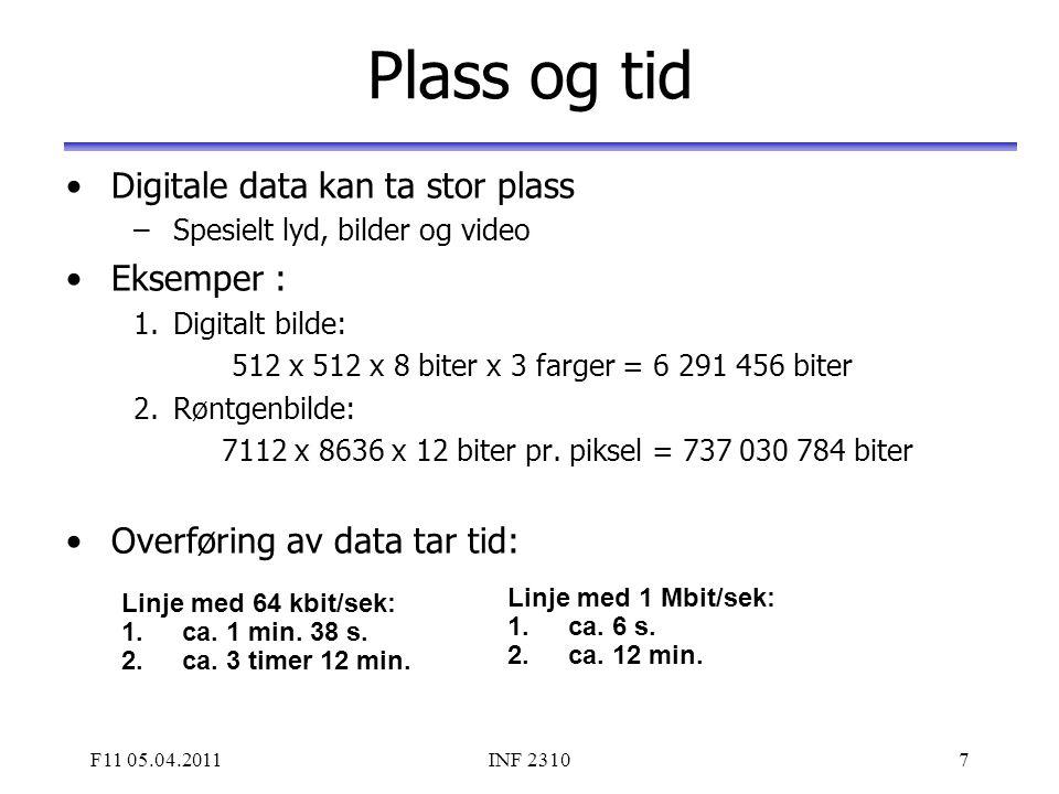 F11 05.04.2011INF 23107 Plass og tid Digitale data kan ta stor plass –Spesielt lyd, bilder og video Eksemper : 1.Digitalt bilde: 512 x 512 x 8 biter x