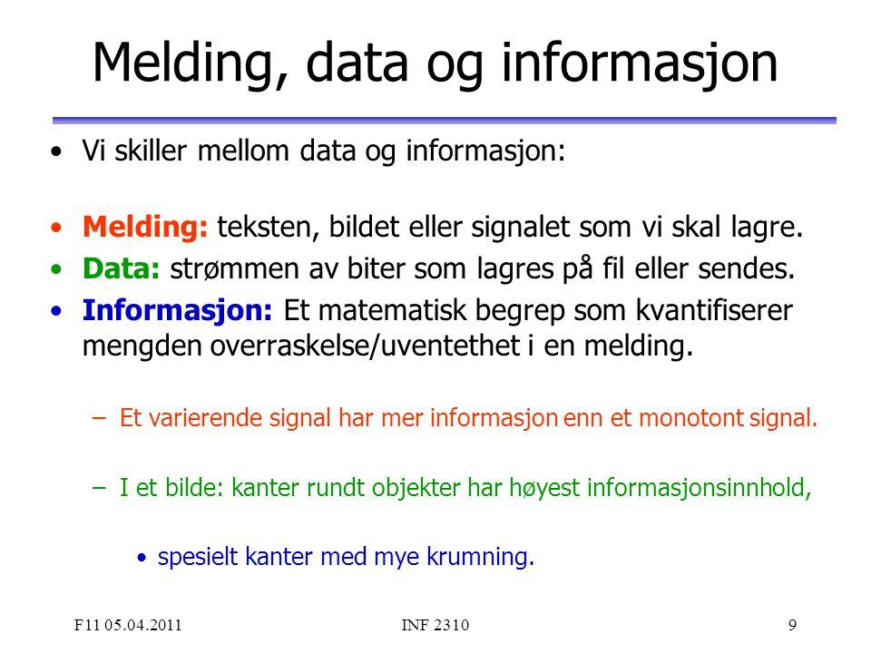 F11 05.04.2011INF 23109 Melding, data og informasjon Vi skiller mellom data og informasjon: Melding: teksten, bildet eller signalet som vi skal lagre.