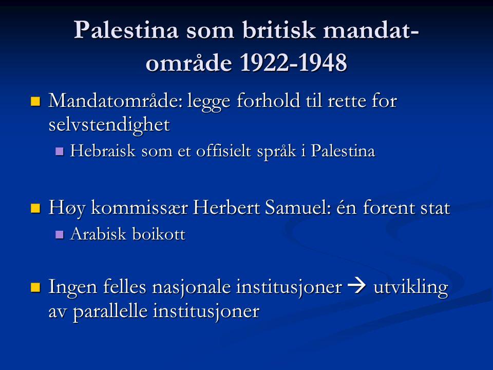 Palestina som britisk mandat- område 1922-1948 Mandatområde: legge forhold til rette for selvstendighet Mandatområde: legge forhold til rette for selv