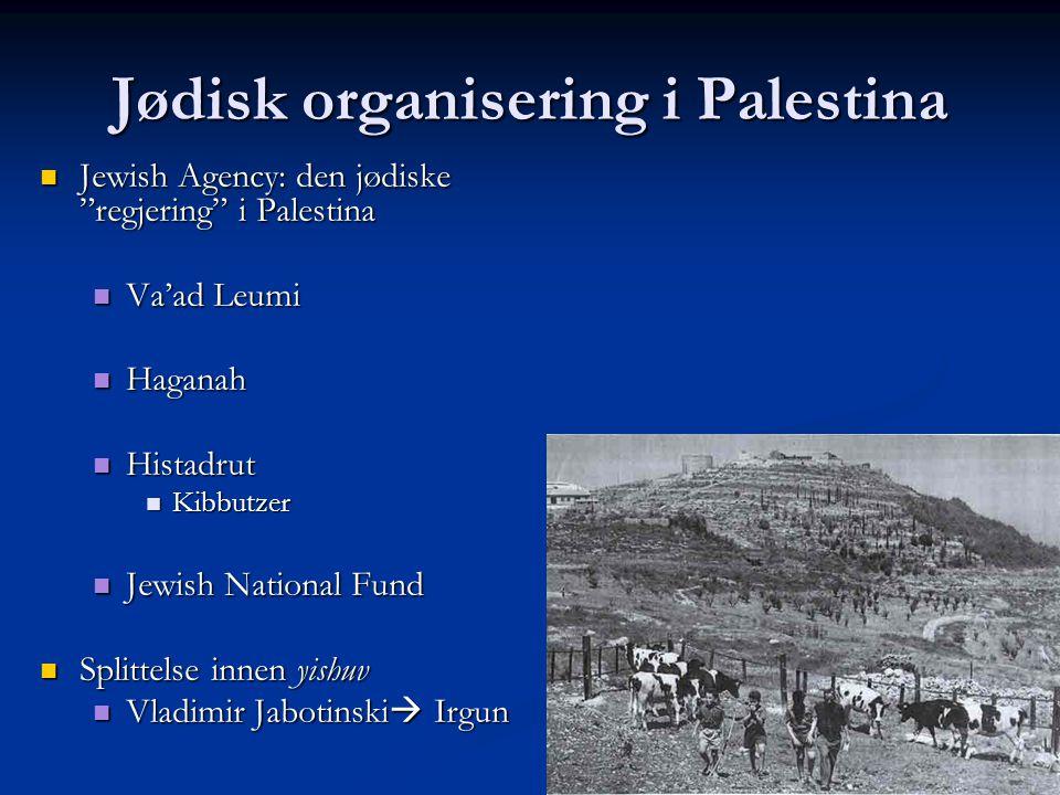 "Jødisk organisering i Palestina Jewish Agency: den jødiske ""regjering"" i Palestina Jewish Agency: den jødiske ""regjering"" i Palestina Va'ad Leumi Va'a"