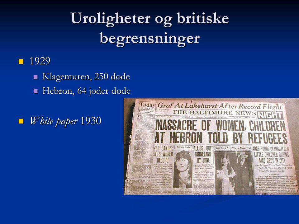 Uroligheter og britiske begrensninger 1929 1929 Klagemuren, 250 døde Klagemuren, 250 døde Hebron, 64 jøder døde Hebron, 64 jøder døde White paper 1930