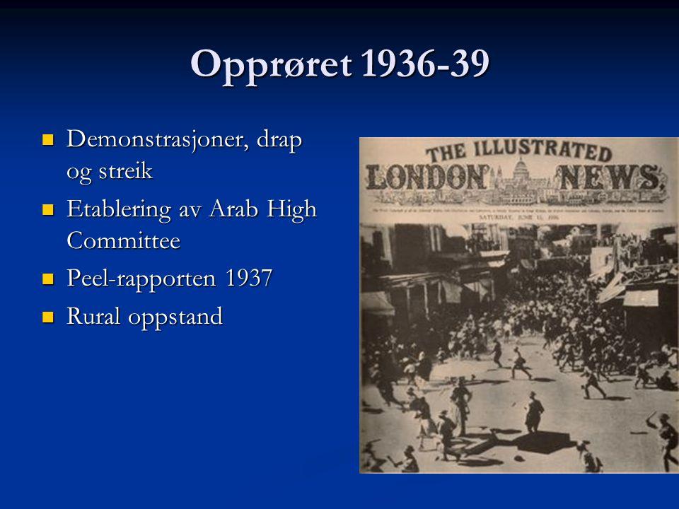 Opprøret 1936-39 Demonstrasjoner, drap og streik Demonstrasjoner, drap og streik Etablering av Arab High Committee Etablering av Arab High Committee P