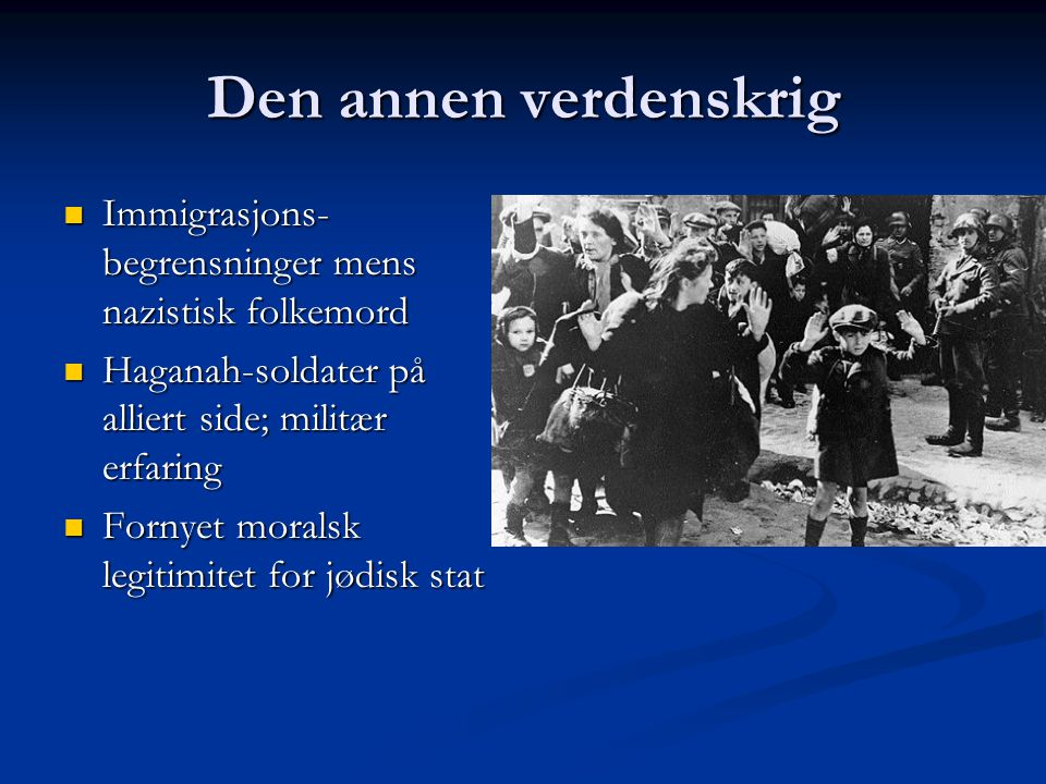 Den annen verdenskrig Immigrasjons- begrensninger mens nazistisk folkemord Immigrasjons- begrensninger mens nazistisk folkemord Haganah-soldater på al
