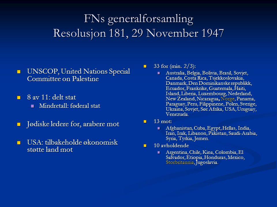 FNs generalforsamling Resolusjon 181, 29 November 1947 UNSCOP, United Nations Special Committee on Palestine UNSCOP, United Nations Special Committee
