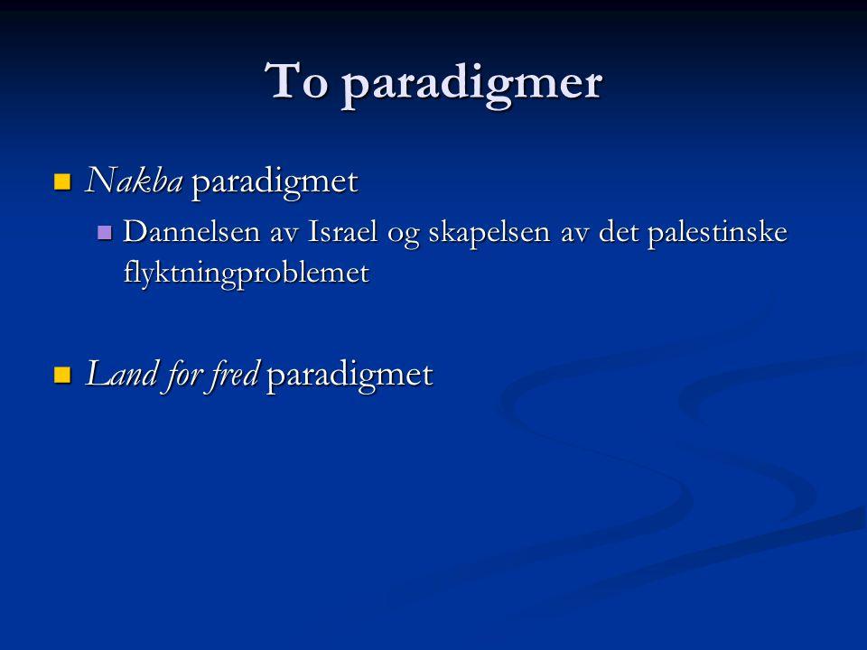 To paradigmer Nakba paradigmet Nakba paradigmet Dannelsen av Israel og skapelsen av det palestinske flyktningproblemet Dannelsen av Israel og skapelse
