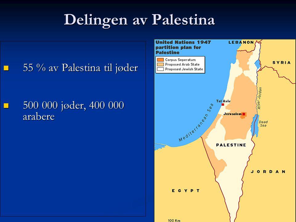 Delingen av Palestina Delingen av Palestina 55 % av Palestina til jøder 55 % av Palestina til jøder 500 000 jøder, 400 000 arabere 500 000 jøder, 400