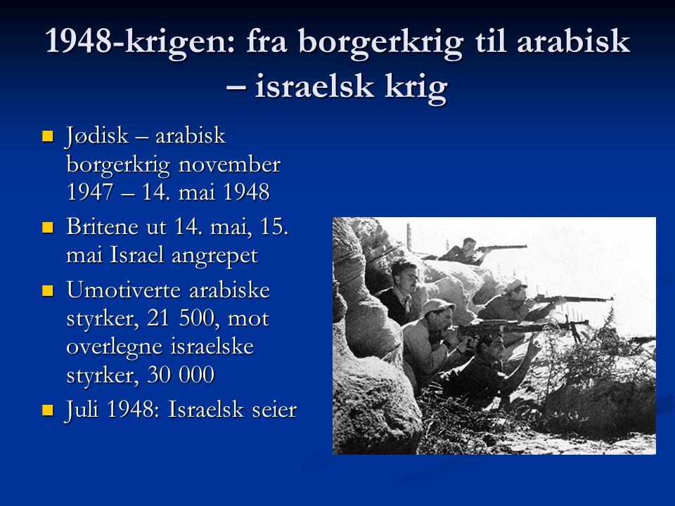 1948-krigen: fra borgerkrig til arabisk – israelsk krig Jødisk – arabisk borgerkrig november 1947 – 14. mai 1948 Jødisk – arabisk borgerkrig november