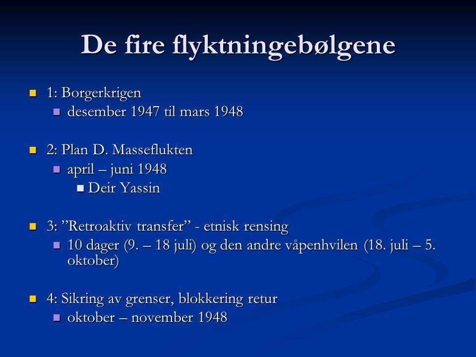 De fire flyktningebølgene 1: Borgerkrigen 1: Borgerkrigen desember 1947 til mars 1948 desember 1947 til mars 1948 2: Plan D. Masseflukten 2: Plan D. M
