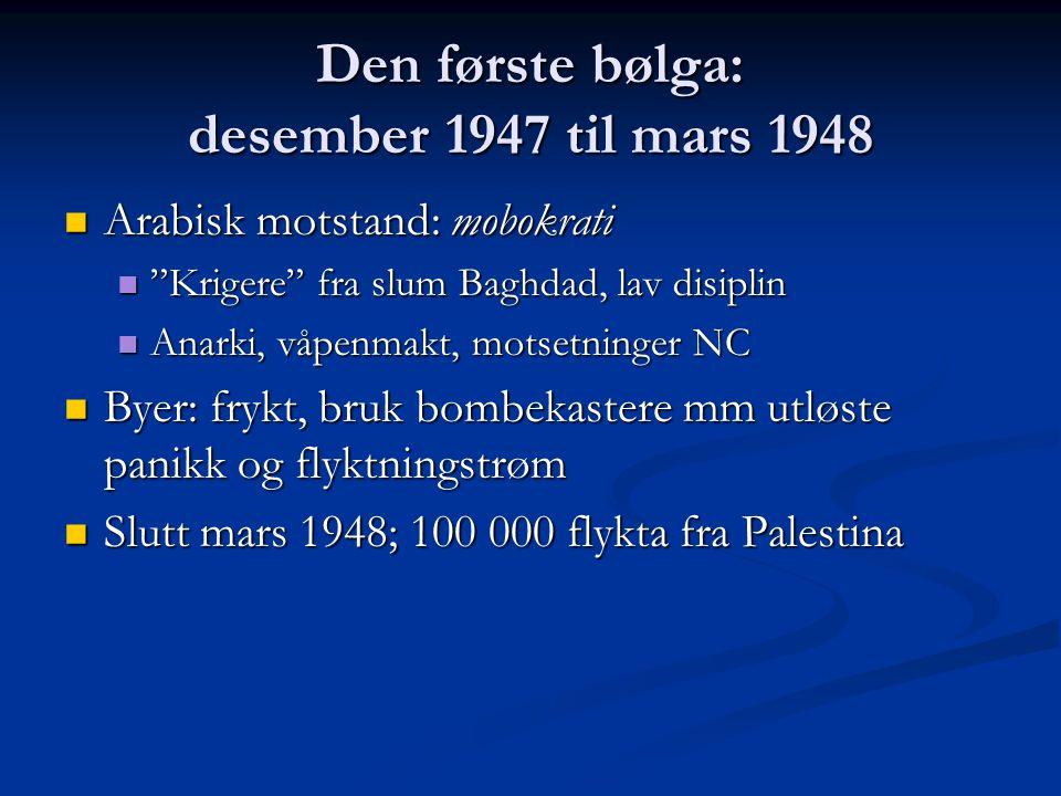 "Den første bølga: desember 1947 til mars 1948 Arabisk motstand: mobokrati Arabisk motstand: mobokrati ""Krigere"" fra slum Baghdad, lav disiplin ""Kriger"