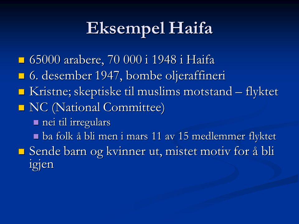 Eksempel Haifa 65000 arabere, 70 000 i 1948 i Haifa 65000 arabere, 70 000 i 1948 i Haifa 6. desember 1947, bombe oljeraffineri 6. desember 1947, bombe