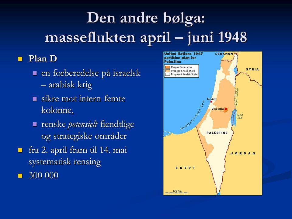 Den andre bølga: masseflukten april – juni 1948 Plan D Plan D en forberedelse på israelsk – arabisk krig en forberedelse på israelsk – arabisk krig si