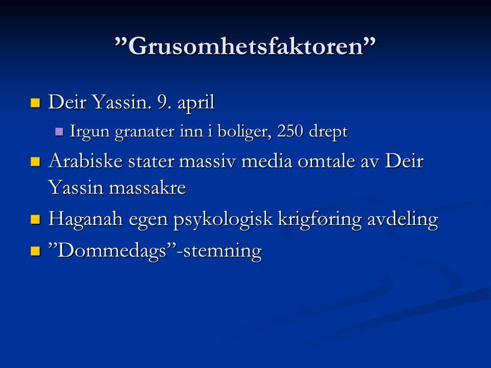 """Grusomhetsfaktoren"" Deir Yassin. 9. april Deir Yassin. 9. april Irgun granater inn i boliger, 250 drept Irgun granater inn i boliger, 250 drept Arabi"
