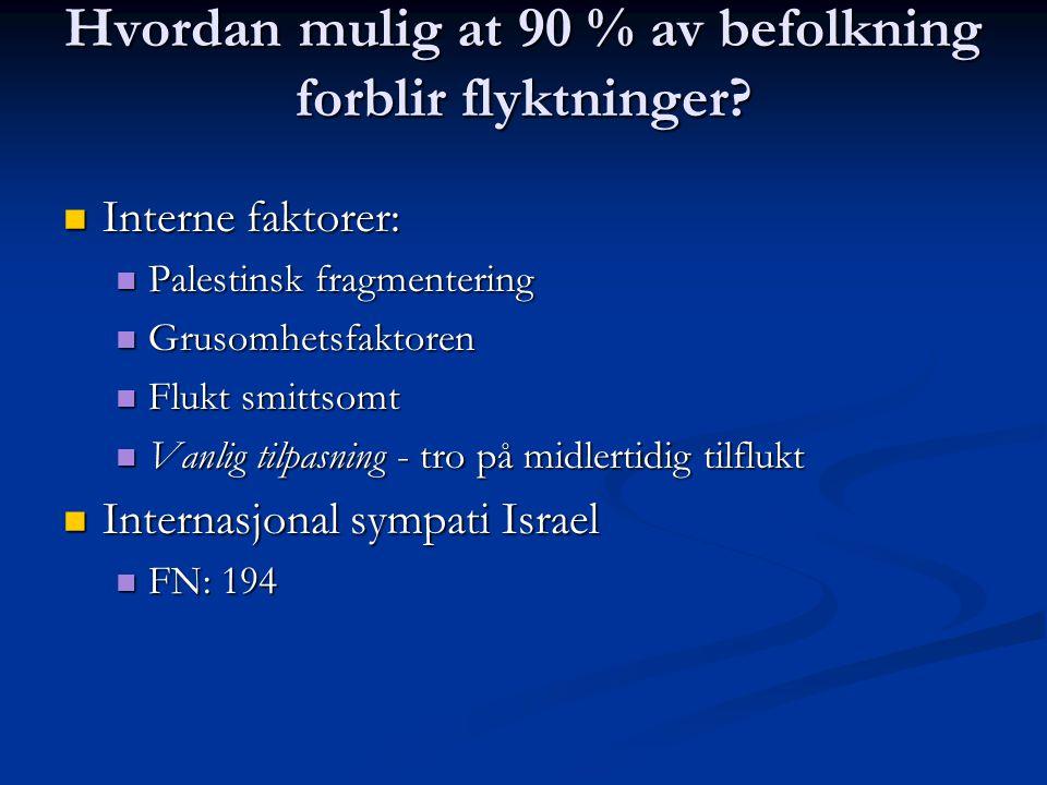 Hvordan mulig at 90 % av befolkning forblir flyktninger? Interne faktorer: Interne faktorer: Palestinsk fragmentering Palestinsk fragmentering Grusomh