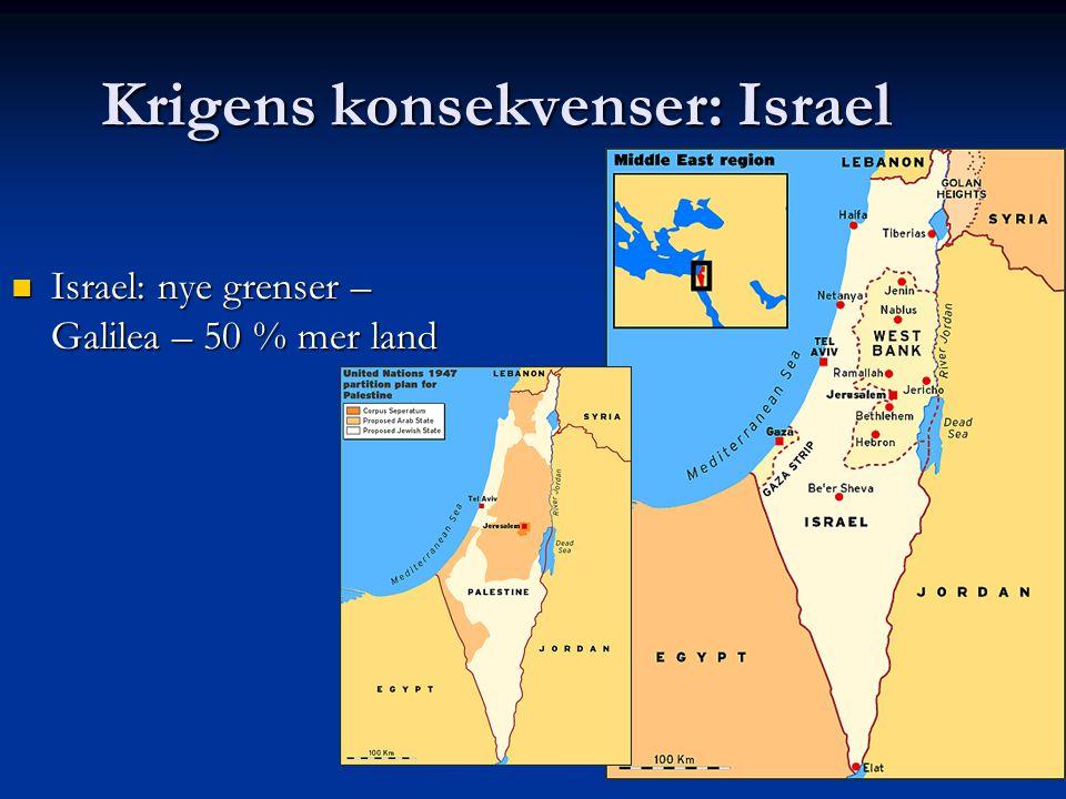 Krigens konsekvenser: Israel Israel: nye grenser – Galilea – 50 % mer land Israel: nye grenser – Galilea – 50 % mer land
