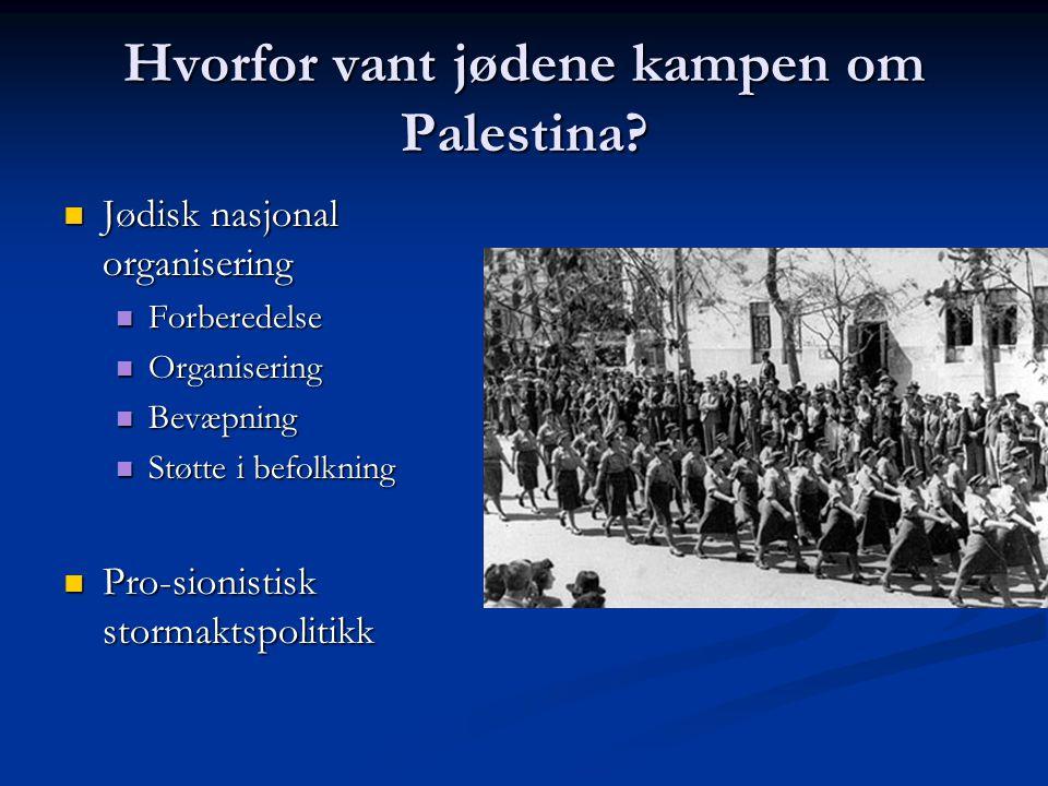 Hvorfor vant jødene kampen om Palestina? Jødisk nasjonal organisering Jødisk nasjonal organisering Forberedelse Forberedelse Organisering Organisering