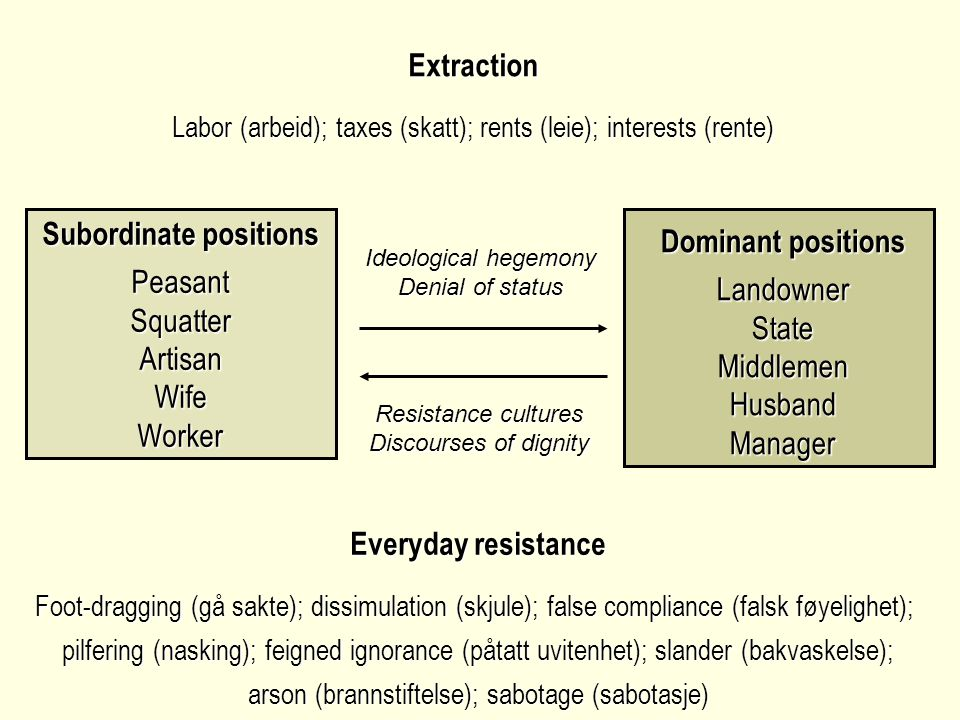Extraction Labor (arbeid); taxes (skatt); rents (leie); interests (rente) Everyday resistance Foot-dragging (gå sakte); dissimulation (skjule); false