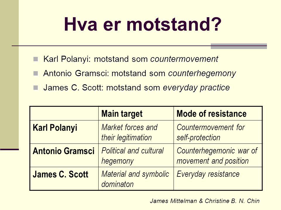 Karl Polanyi: The Great Transformation Årsakene til globale politiske, økonomiske og sosiale kriser i 1930-åra var (den statstøttete) utviklingen av selv-regulerende (dvs.