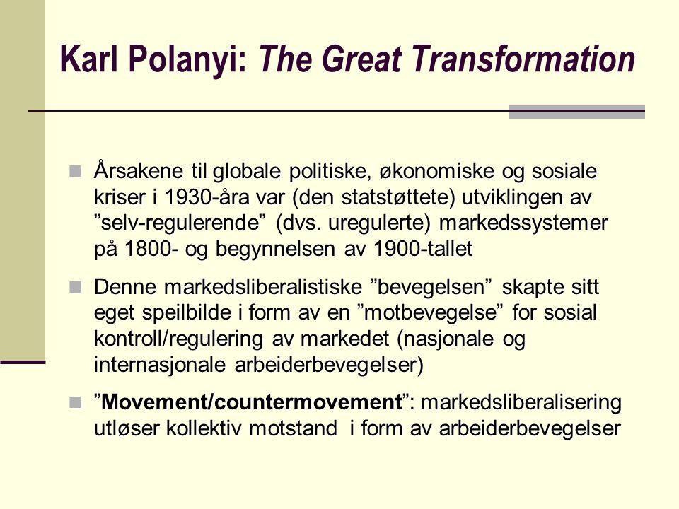 Polanyis tilnærming understøtter en forståelse av globaliserings-motstand som en refleksjon av globalisering (movement/ countermovement-dialektikk).