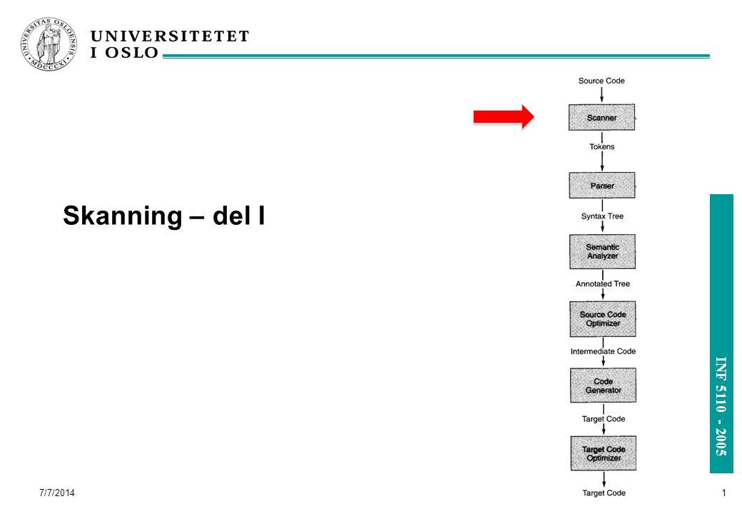 INF 5110 - 2005 Skanning – del I 7/7/2014 1