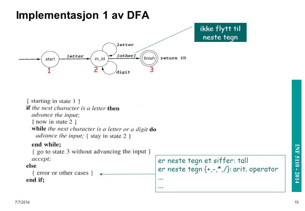 INF 3110/4110 - 2004 INF 5110 - 2014 7/7/201419 Implementasjon 1 av DFA 1 23 er neste tegn et siffer: tall er neste tegn {+,-,*,/}: arit. operator...