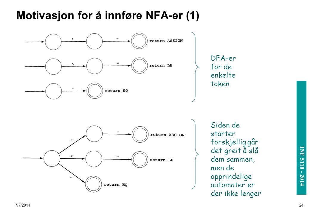 INF 3110/4110 - 2004 INF 5110 - 2014 7/7/201424 Motivasjon for å innføre NFA-er (1) DFA-er for de enkelte token Siden de starter forskjellig går det g