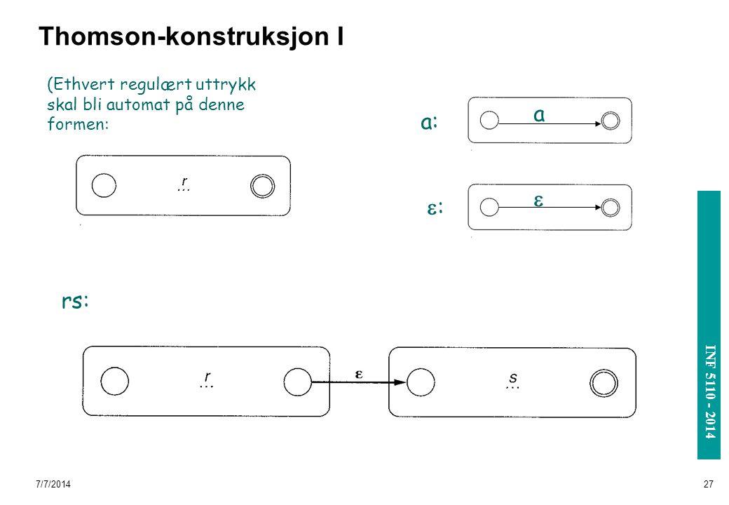 INF 3110/4110 - 2004 INF 5110 - 2014 7/7/201427 Thomson-konstruksjon I rs: (Ethvert regulært uttrykk skal bli automat på denne formen: a: ::  a