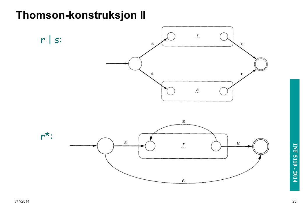 INF 3110/4110 - 2004 INF 5110 - 2014 7/7/201428 Thomson-konstruksjon II r | s: r*: