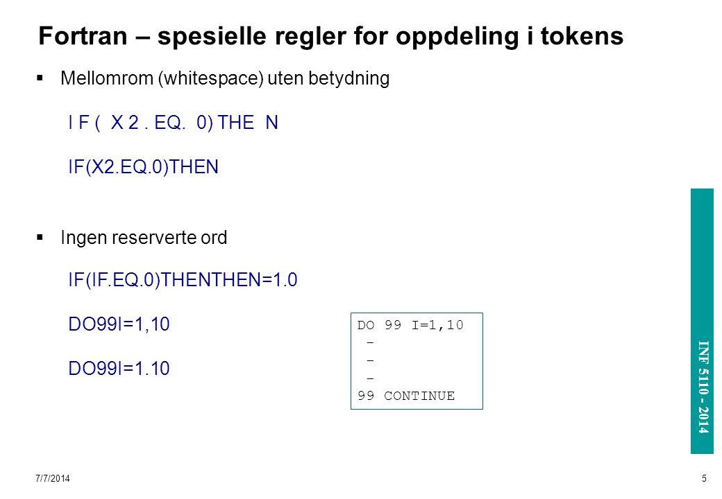 INF 3110/4110 - 2004 INF 5110 - 2014 Fortran – spesielle regler for oppdeling i tokens  Mellomrom (whitespace) uten betydning  Ingen reserverte ord