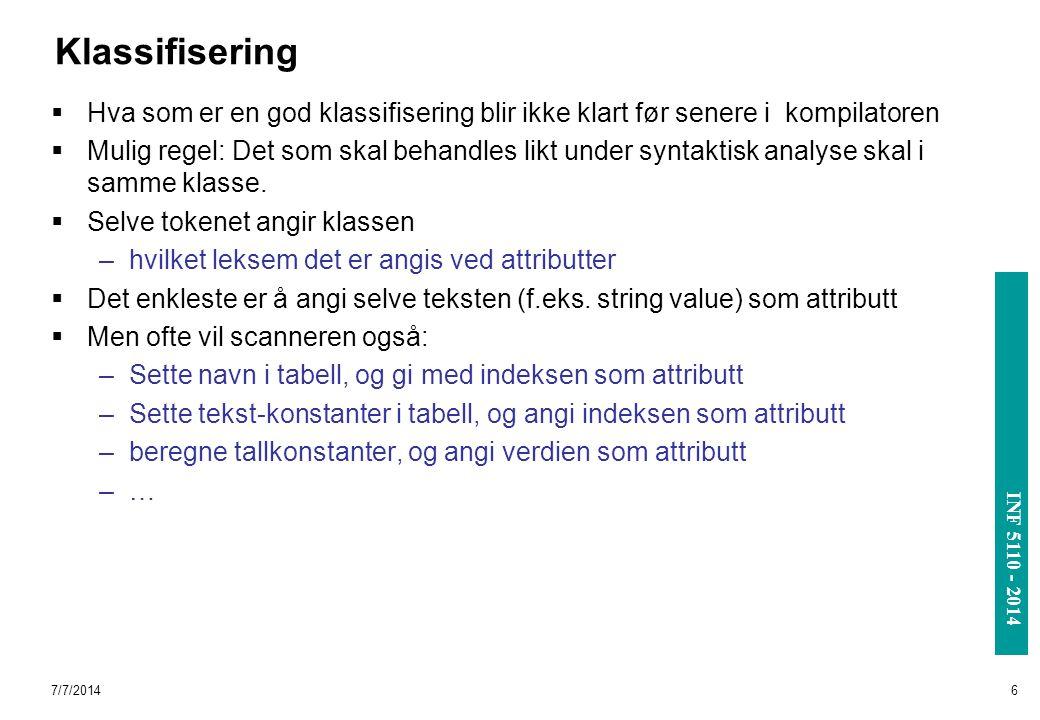 INF 3110/4110 - 2004 INF 5110 - 2014 7/7/20146 Klassifisering  Hva som er en god klassifisering blir ikke klart før senere i kompilatoren  Mulig reg