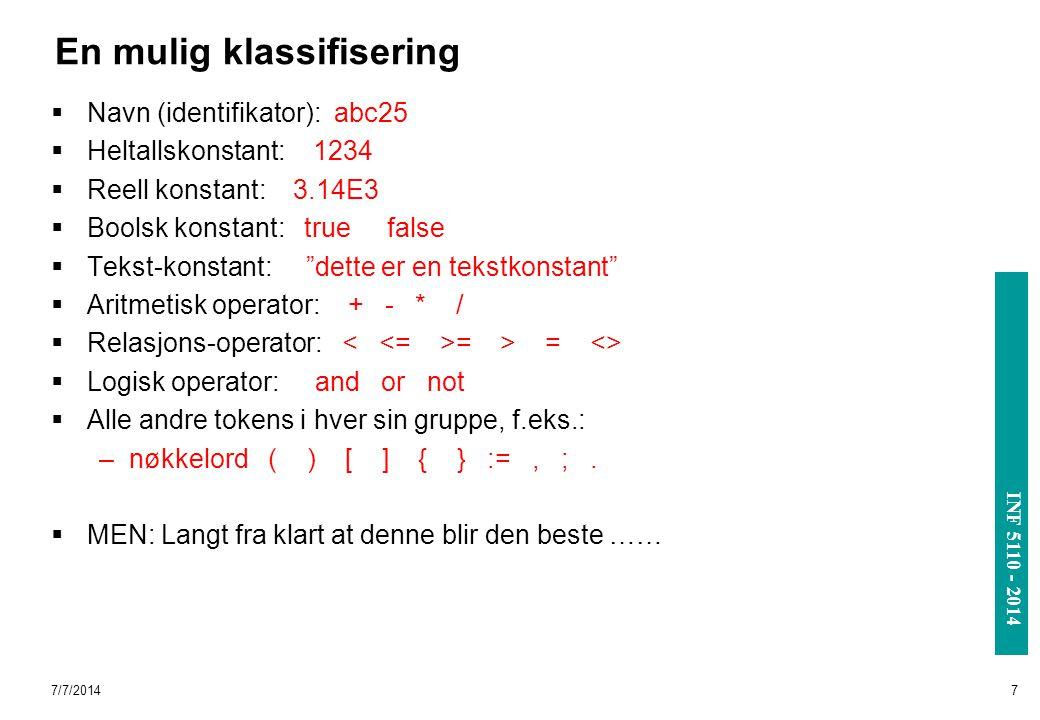 INF 3110/4110 - 2004 INF 5110 - 2014 7/7/20148 C-typer som kan representere et token Hovedklassifikasjonen Selve teksten, eller verdien Hvis man vil lagre bare ett attributt: