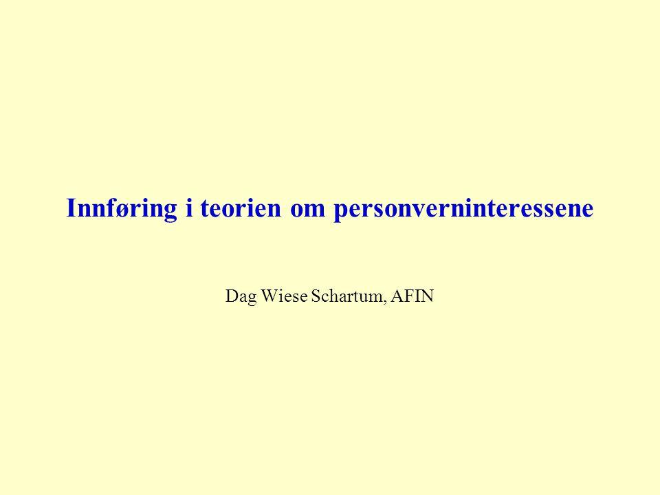 Innføring i teorien om personverninteressene Dag Wiese Schartum, AFIN