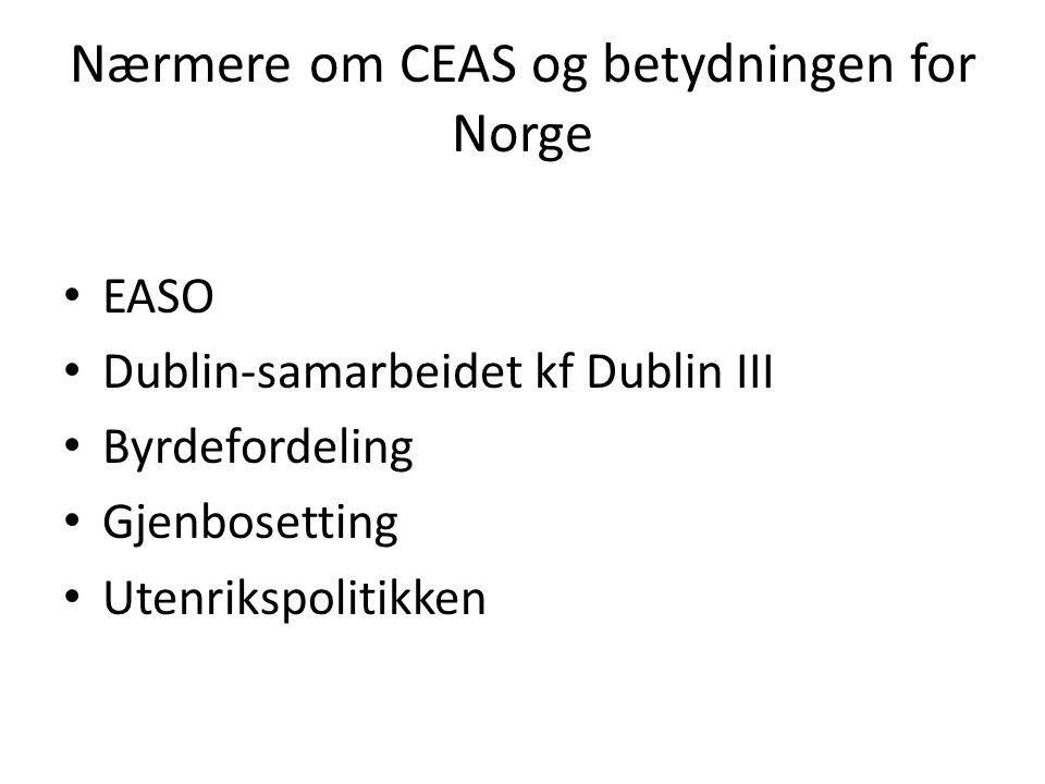Nærmere om CEAS og betydningen for Norge EASO Dublin-samarbeidet kf Dublin III Byrdefordeling Gjenbosetting Utenrikspolitikken