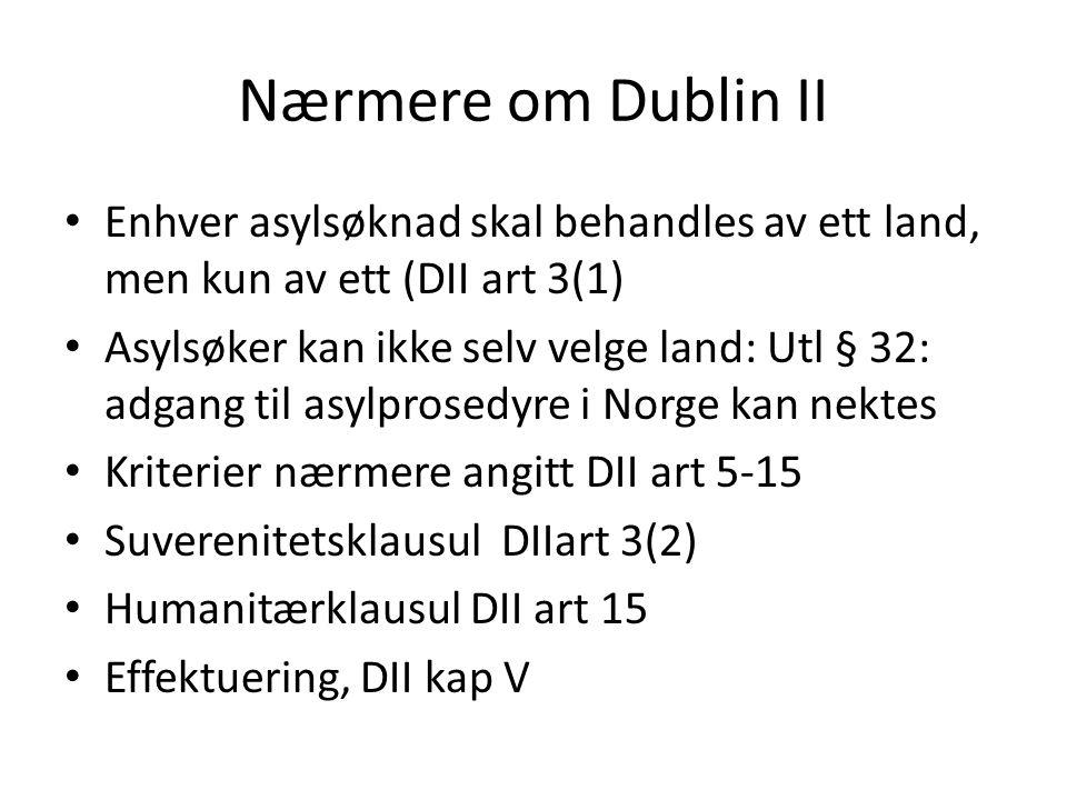 Nærmere om Dublin II Enhver asylsøknad skal behandles av ett land, men kun av ett (DII art 3(1) Asylsøker kan ikke selv velge land: Utl § 32: adgang t