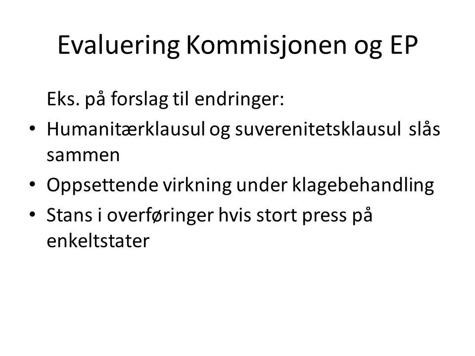 Evaluering Kommisjonen og EP Eks. på forslag til endringer: Humanitærklausul og suverenitetsklausul slås sammen Oppsettende virkning under klagebehand