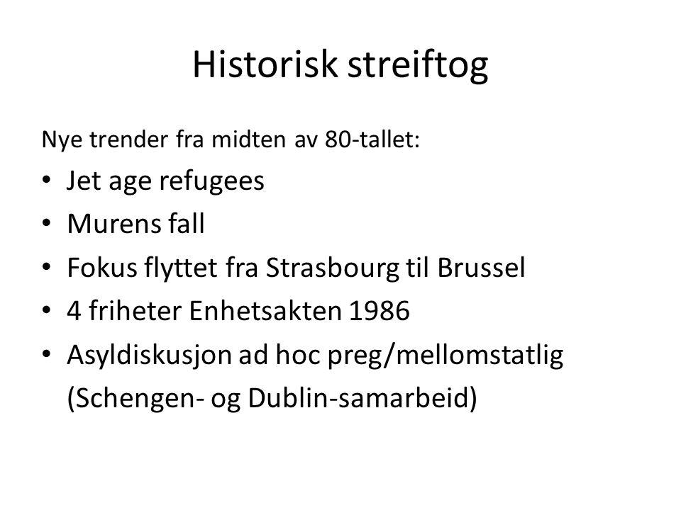 Historisk streiftog Nye trender fra midten av 80-tallet: Jet age refugees Murens fall Fokus flyttet fra Strasbourg til Brussel 4 friheter Enhetsakten