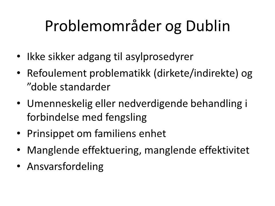 "Problemområder og Dublin Ikke sikker adgang til asylprosedyrer Refoulement problematikk (dirkete/indirekte) og ""doble standarder Umenneskelig eller ne"