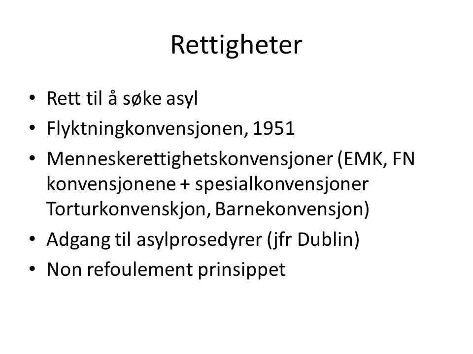 Rettigheter Rett til å søke asyl Flyktningkonvensjonen, 1951 Menneskerettighetskonvensjoner (EMK, FN konvensjonene + spesialkonvensjoner Torturkonvens