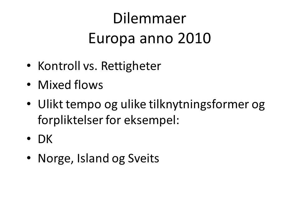 Dilemmaer Europa anno 2010 Kontroll vs. Rettigheter Mixed flows Ulikt tempo og ulike tilknytningsformer og forpliktelser for eksempel: DK Norge, Islan