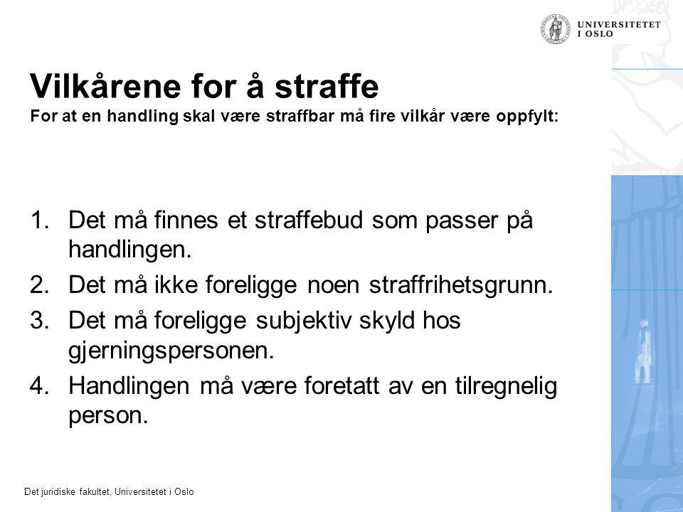 Det juridiske fakultet, Universitetet i Oslo Vilkårene for å straffe For at en handling skal være straffbar må fire vilkår være oppfylt: 1.Det må finn
