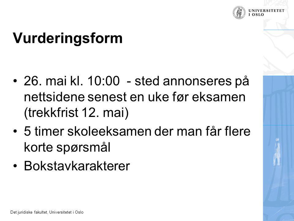 Det juridiske fakultet, Universitetet i Oslo Straffbarhetsvilkår nr.