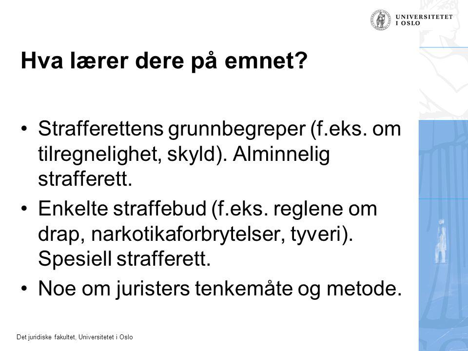 Det juridiske fakultet, Universitetet i Oslo Hva lærer dere på emnet? Strafferettens grunnbegreper (f.eks. om tilregnelighet, skyld). Alminnelig straf