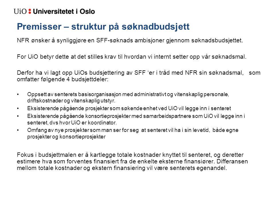 Premisser – struktur på søknadbudsjett NFR ønsker å synliggjøre en SFF-søknads ambisjoner gjennom søknadsbudsjettet. For UiO betyr dette at det stille
