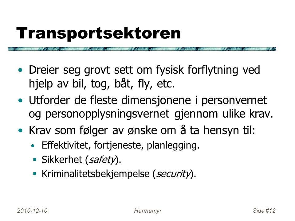Transportsektoren Dreier seg grovt sett om fysisk forflytning ved hjelp av bil, tog, båt, fly, etc. Utforder de fleste dimensjonene i personvernet og
