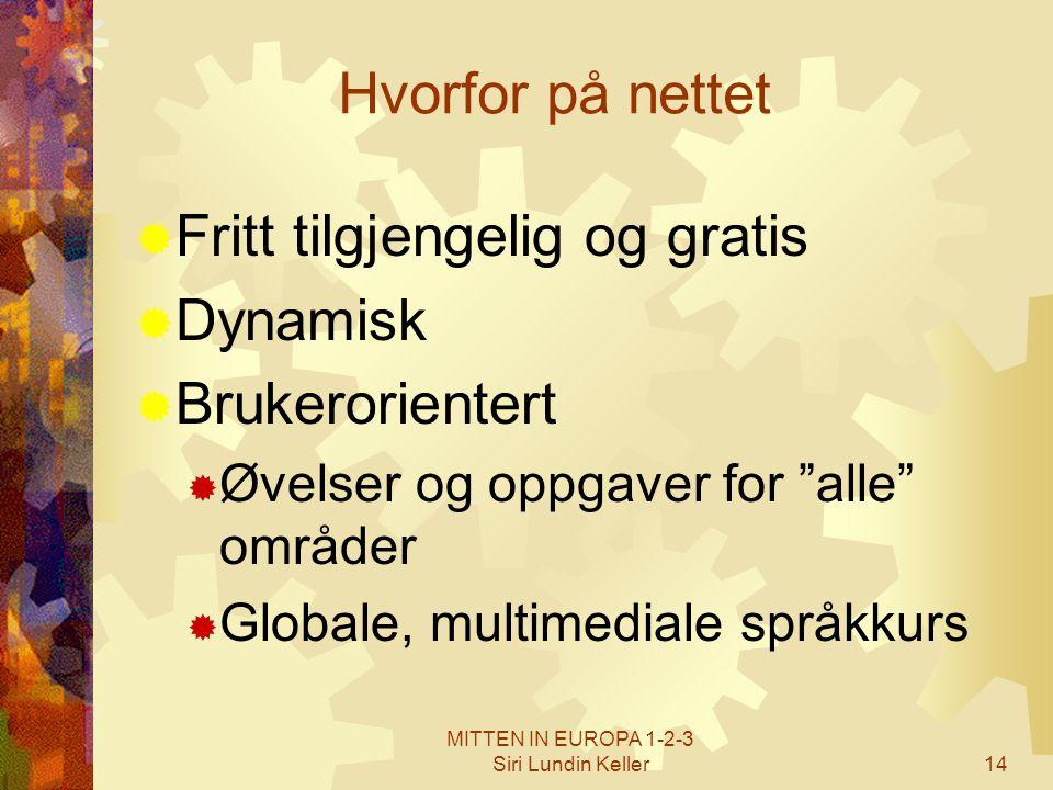 """MITTEN IN EUROPA 1-2-3 Siri Lundin Keller14 Hvorfor på nettet  Fritt tilgjengelig og gratis  Dynamisk  Brukerorientert  Øvelser og oppgaver for """"a"""