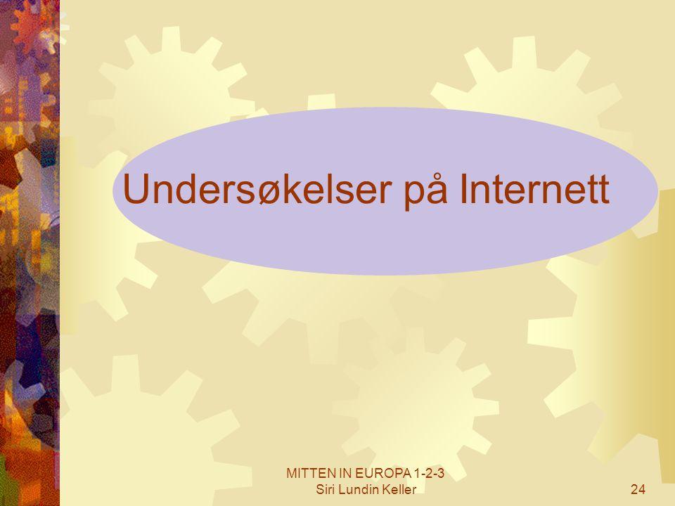 MITTEN IN EUROPA 1-2-3 Siri Lundin Keller24 Undersøkelser på Internett
