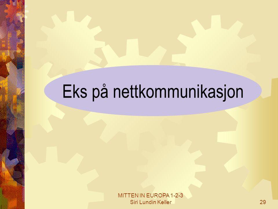 MITTEN IN EUROPA 1-2-3 Siri Lundin Keller29 Eks på nettkommunikasjon