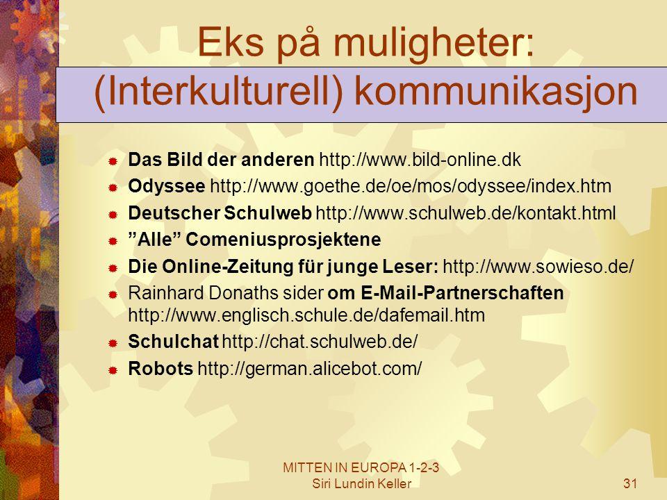 MITTEN IN EUROPA 1-2-3 Siri Lundin Keller31 Eks på muligheter: (Interkulturell) kommunikasjon  Das Bild der anderen http://www.bild-online.dk  Odyss
